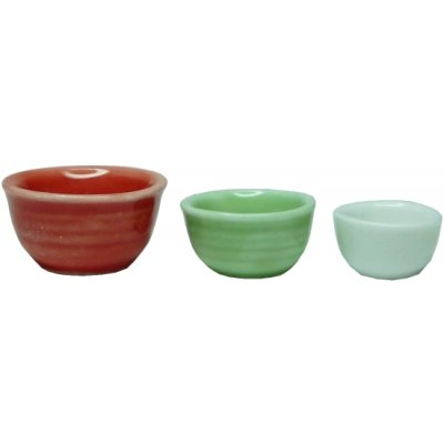 Ceramic Bowl Set - Red, White & Green 3pc