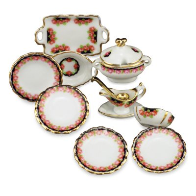 Black Rose Dinner Set - 9pc