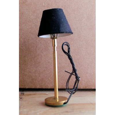 1/2 in. Modern Floor Lamp Brass w/ Black Shade - Electric
