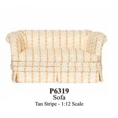 Contemporary Tan Striped Sofa