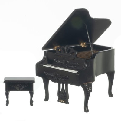Carved Piano w/ Bench - Black