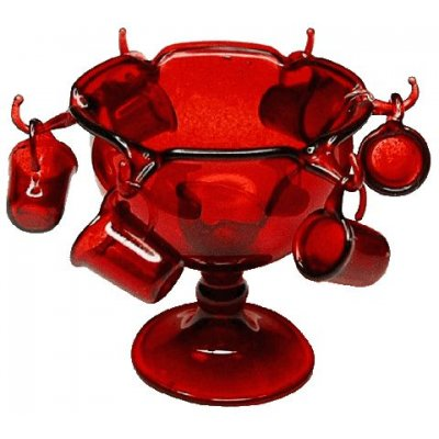 Red Glass Punch Bowl Set w/ Ladle & 6 Glasses