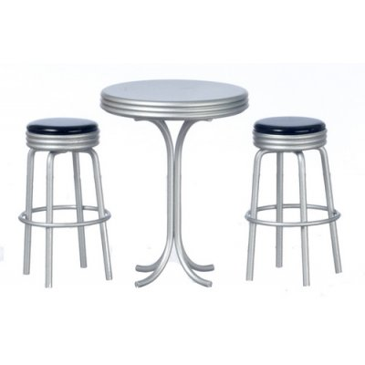 1950s Tall Table & Stools - 3pc - Black