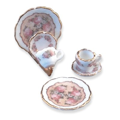 Classic Rose Plate Set w/ Holder