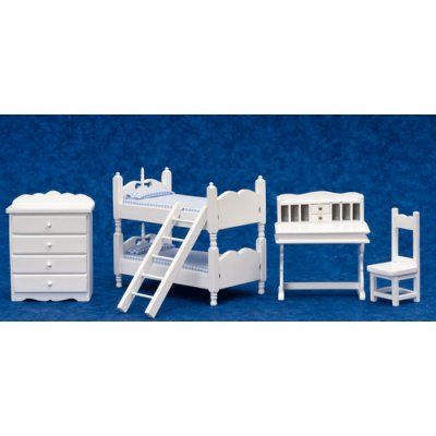 White Bunk Bed w/ Desk & Chair