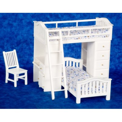 White Bunk Bed w/ Ladder & Chair