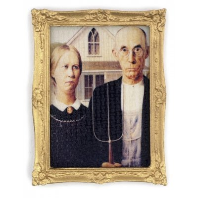 American Gothic in Gold Frame