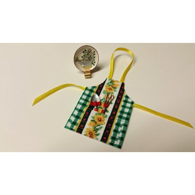 Apron w/ Gardening Tools & Plate in Stand