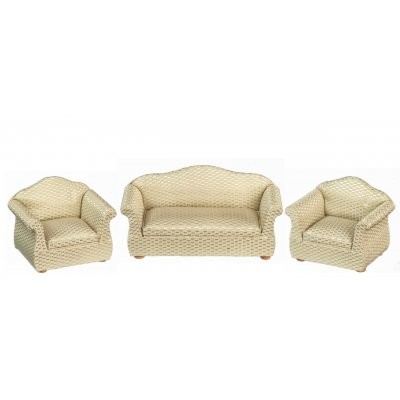 Living Room Furniture Set - Retro Fabric Upholstery - 3pc