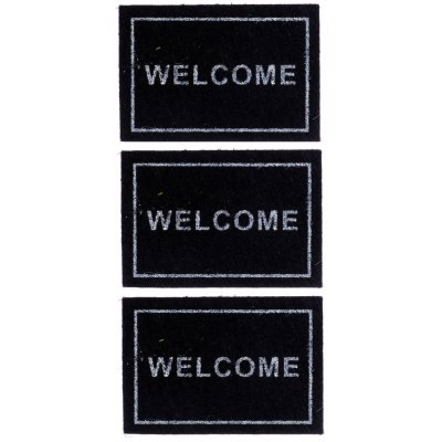 Black Welcome Mats 3pc