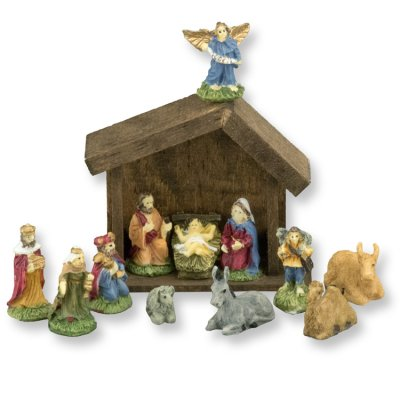 12pc Nativity Set w/ Wood Manger