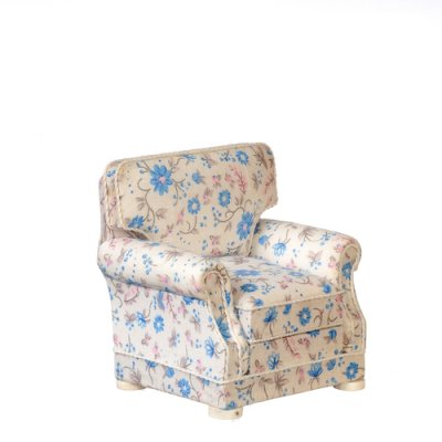 Armchair - White w/ Blue Floral Fabric