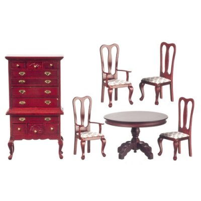 Print & Mahogany Dining Set 6pc