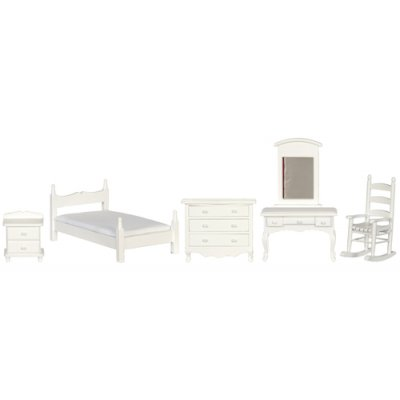 Single Size White Bedroom Set 5pc