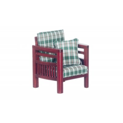 Green Plaid & Mahogany 70s Style Chair