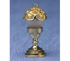 Dollhouse Miniature 12v Table Lamp with Bronze Base and Oil Lamp Shade HW2702