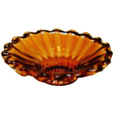 Crystal Amber Glass Flared Platter