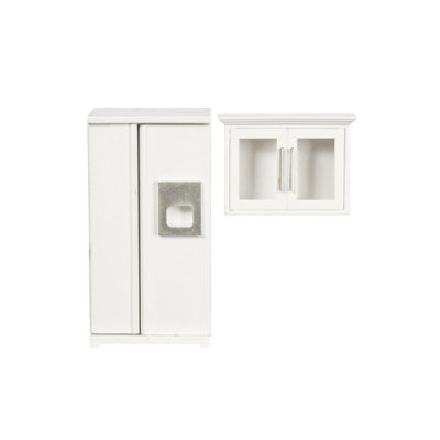 Kitchen Refrigerator & Cabinet Set - Off-White