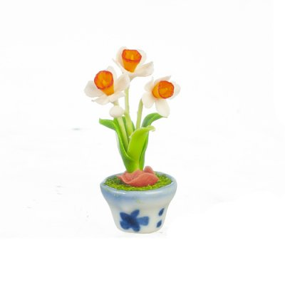 1/2in Scale Daffodils in Pot - Orange/ White