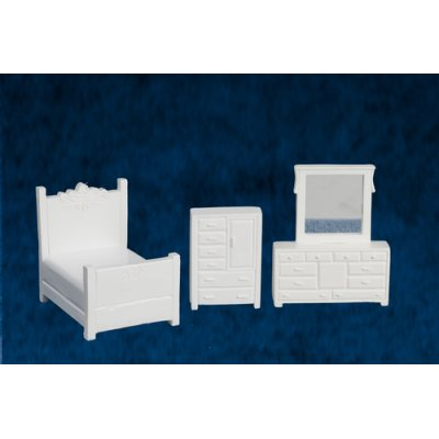 1/4 Inch Bedroom Set 3pc - White - Metal