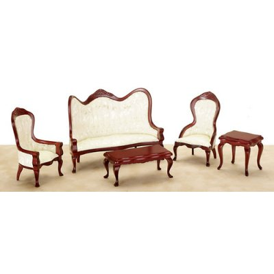 Mahogany Queen Anne Living Room Set 5pc