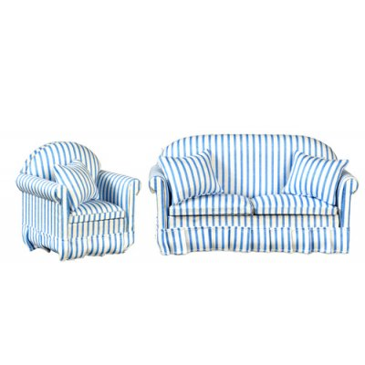 Blue & White Striped Sofa & Chair Living Room Set - 2pc