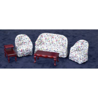 Printed Living Room Set - Mahogany - 5pc