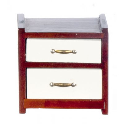Mahogany & White 2 Drawer Nightstand