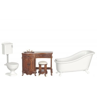 Avalon Victorian Bathroom Set - Walnut - 3pc