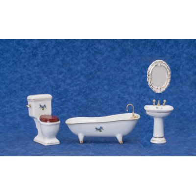 White Porcelain Bath Set w/ Flowers - 4pc