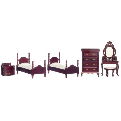 2 Twin Bed Bedroom Set - Mahogany 6pc