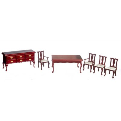 Mahogany Queen Anne Dining Room Set 6pc