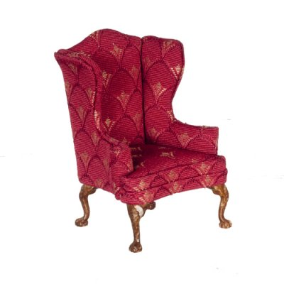 Burgundy Print Wingback Chair   Walnut