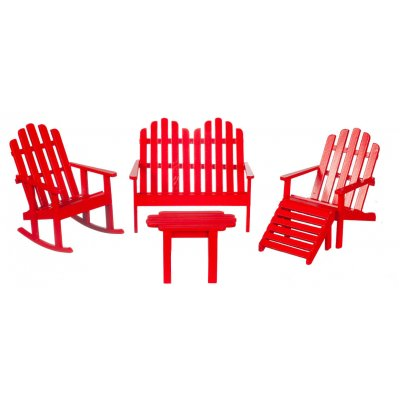 Adirondack Furniture Set - Red - 5pc