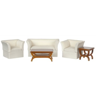 Contemporary Living Room Set White 5pc