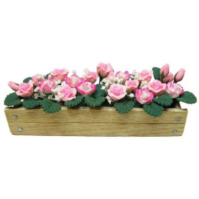 Pink & White Roses in Planter