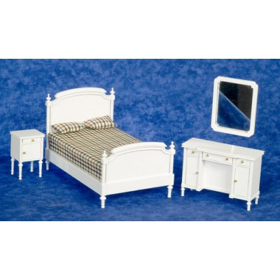 White Double Bed Bedroom Set 4pc