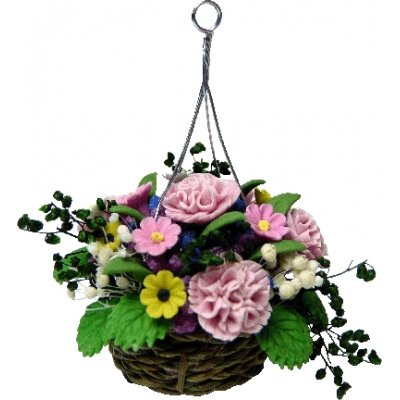 Pink Carnations in Hanging Basket