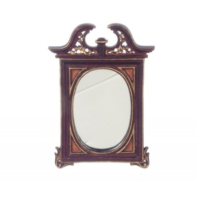 Harding Mahogany Wall Mirror w/ Hand Painted Detail