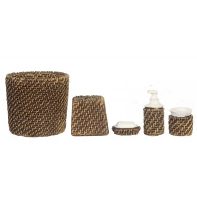 Bathroom Accessory Set 5pc - Wicker