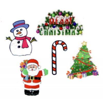Christmas Holiday Window Decorations 5pc