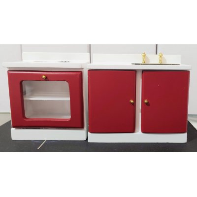 Kitchen Stove & Sink - Red & Off-White