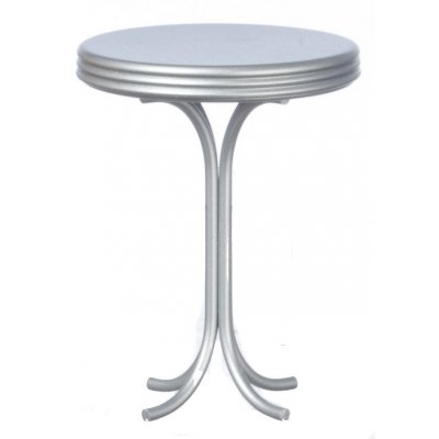 1950s Tall Round Cafe Table - Silver