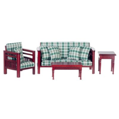Green Plaid & Mahogany Family Room Set - 4pc DISCONTINUED