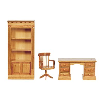 Office Desk, Chair & Bookcase Set - Oak