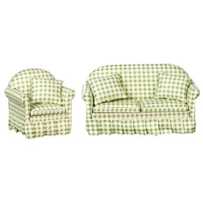 Green & White Checked Sofa & Chair Living Room Set - 2pc