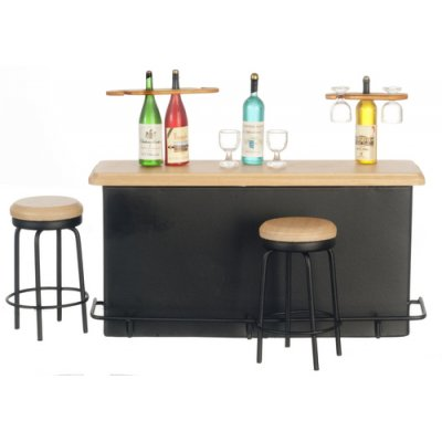 Bar Counter w/ 2 Stools & Accessories