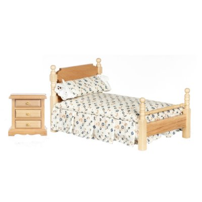 Bed & Night Stand Set - Floral / Oak