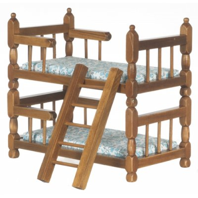 Walnut Bunk Bed w/ Linens & Ladder