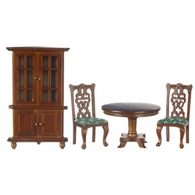 Dining Room Furniture Set 4pc Walnut - Green Upholstery